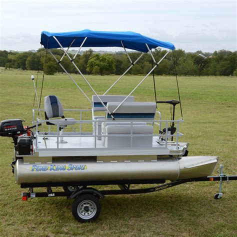 boat mini blinds 12ft fishing pontoon boat the two man pond king sport