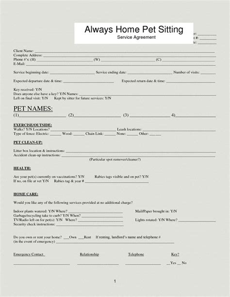pet sitting templates 33 best images about forms on care plans