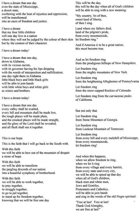 printable version of i have a dream speech i have a dream speech text www imgkid com the image