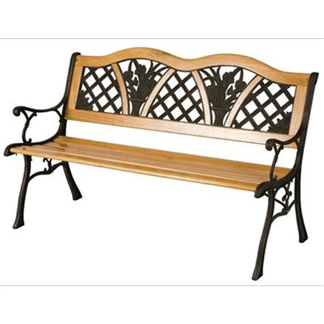 bench metal garden flower bench wood metal the garden factory