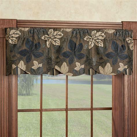 leaf pattern valances maple leaf sable brown layered window valance