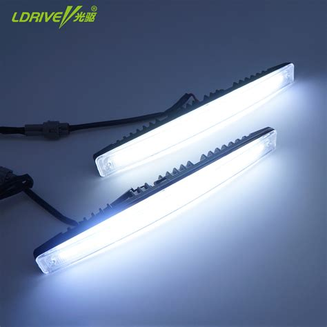 Led Drl 2pcs lot waterproof car bright high and low beam aluminum led daytime running lights with