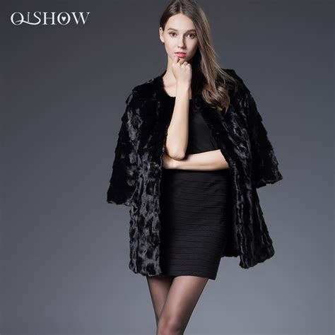 genuine mink fur coat wrap cape black jacket