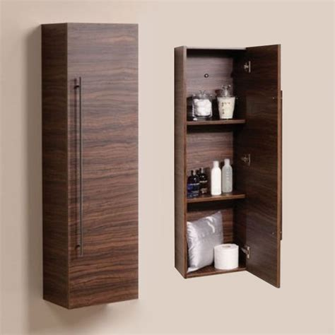Bathroom Furniture Wall Mounted Tall Walnut Cabinet Wall Hung Bathroom Storage