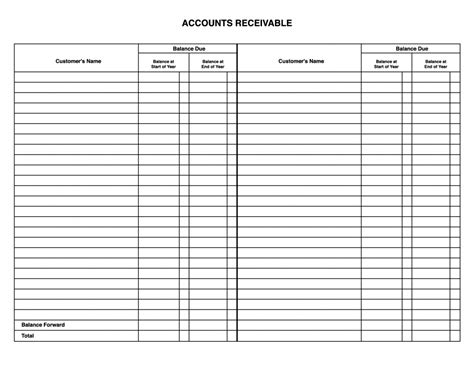 Business Ledger Template by Accounts Ledger Templates Print Paper Templates
