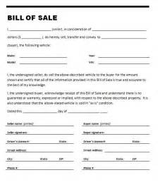 Vehicle Bill Of Sale Free Template by Free Printable Car Bill Of Sale Form Generic