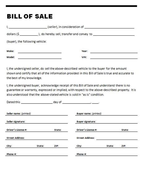 Free Printable Car Bill Of Sale Form Generic Free Bill Of Sales Template For Used Car As Is