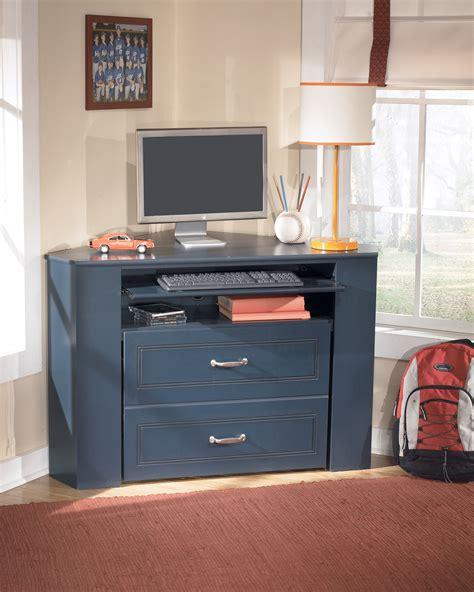 Leo Youth Blue Wood Corner Media Desk With Stool The Youth Corner Desk