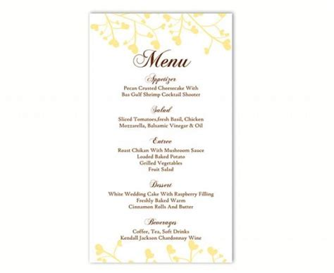 wedding menu card templates diy wedding menu template diy menu card template editable text