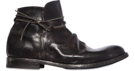 shoto wrinkled leather ankle boots in black for lyst