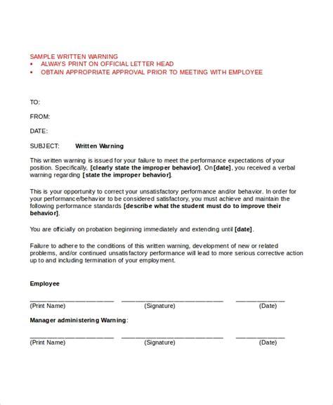 letter employment warning