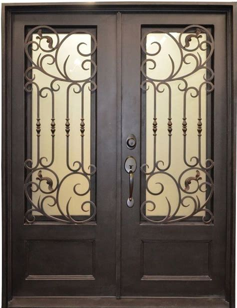 Metal Front Doors For Homes 62 Quot X80 3 4 Quot Lite Metal Painted Wrought Iron Front Entry Door Modern Front Doors By Kbddesigns