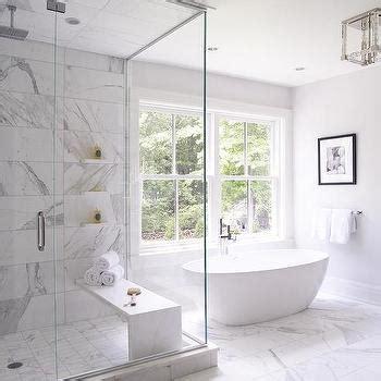 statuary marble shower walls transitional bathroom