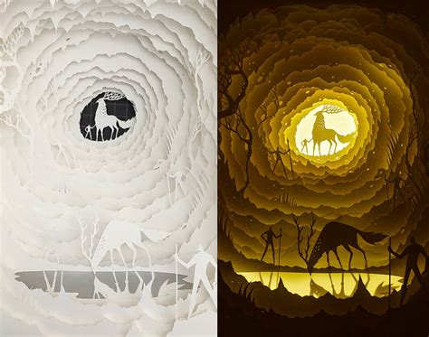 Elegant Light Box Paper Cut Dioramas Fubiz Media Papercut Lightbox Template