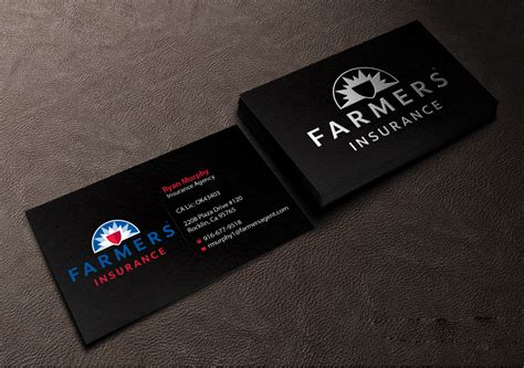 farmers business card templates masculine bold insurance business card design for a