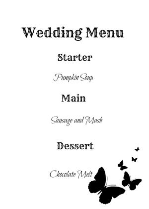 print your own wedding menu cards make your own wedding menu cards
