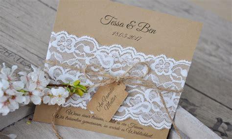 Einladungen Hochzeit Vintage Spitze by Einladungskarten Hochzeit Vintage Quot Kraftpapier K 252 Sst Spitze Quot