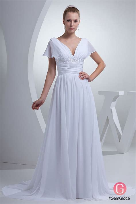 wedding dresses  neck long white chiffon