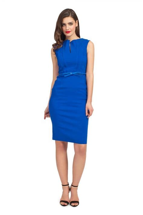 Belted Lattice Sleeve Jumpsuit cobalt cap sleeve lattice shoulder detail belted dress