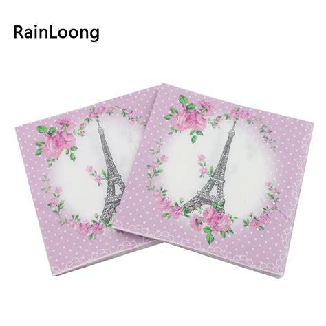 Promo Tissue Decoupage rainloong 33cm 33cm eiffel tower paper napkins festive tissue floral napkins decoration