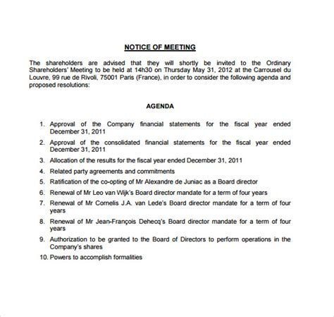 notice of meeting template pin sle notice of meeting on