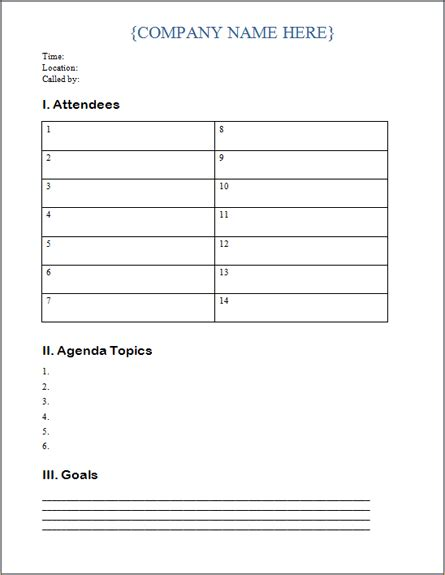 agenda templates archives ms office guru