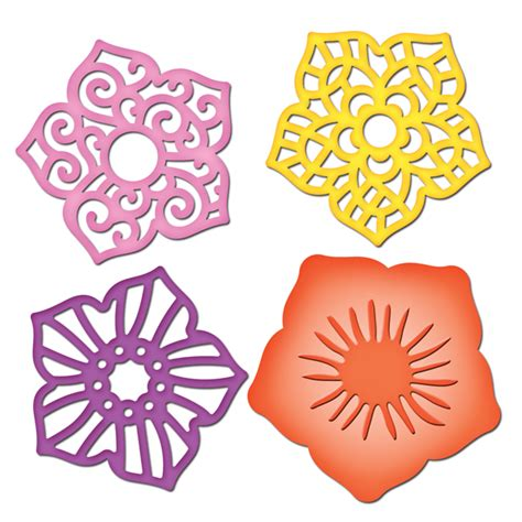 Flower Die Cut Template spellbinders shapeabilities collection die cutting and embossing templates layered flowers