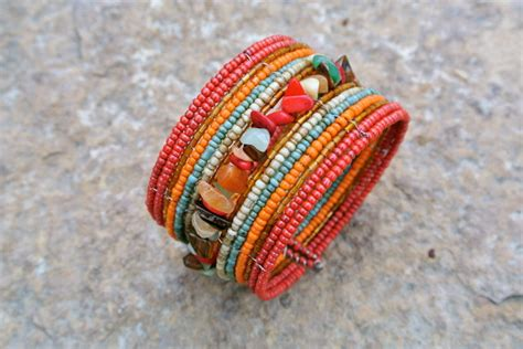 beaded bracelet memory wire bracelet colorful and
