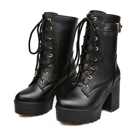womens high heel combat boots buy carol shoes fashion s lace up buckle combat