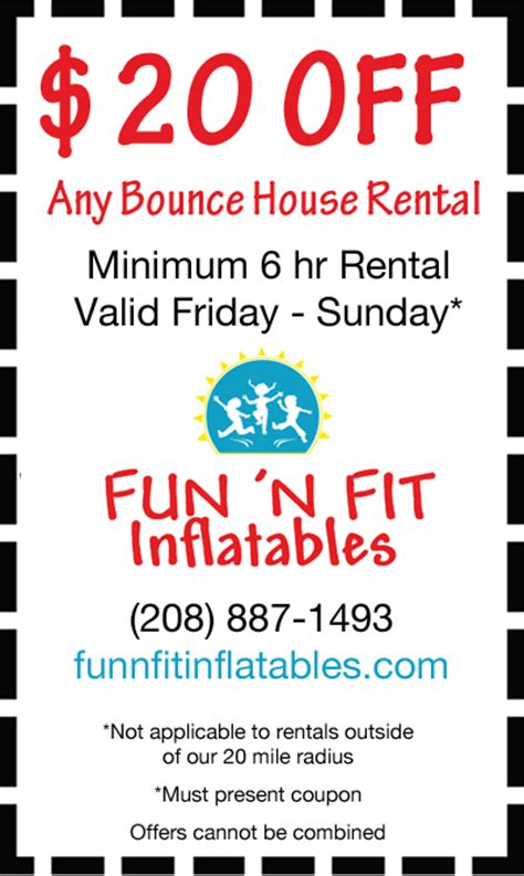 house of fun promo codes fun n fit inflatable moonbounce coupon serving texas