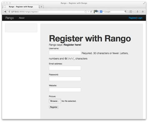 13 Bootstrapping Rango How To Tango With Django 1 7 Bootstrap Templates For Registration Form