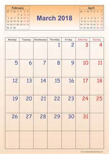 Calendar 2018 Template March 2018 Calendar Template Portrait Printable 2017
