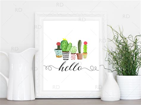 hello home decor free quot hello quot printable with painted cactus adorable