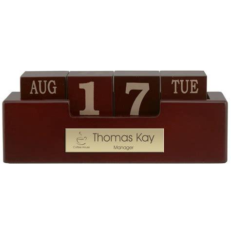 Perpetual Desk Calendar Engraved Wood Perpetual Desktop Calendar With Brass Plate