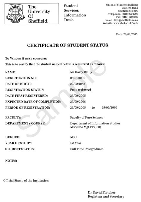 Example: Standard   Certificate of Student Status   SSiD
