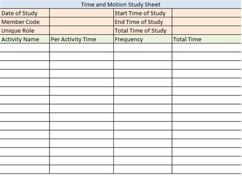 time motion study excel template time study template vertola