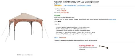 cvalley instant canopy with led lighting system home crest luxe whitestrips 34 orig 53 coleman