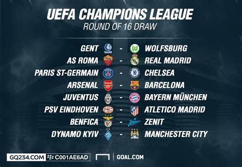 arsenal europa league table uefa chions league round 16 table gqbuzz com