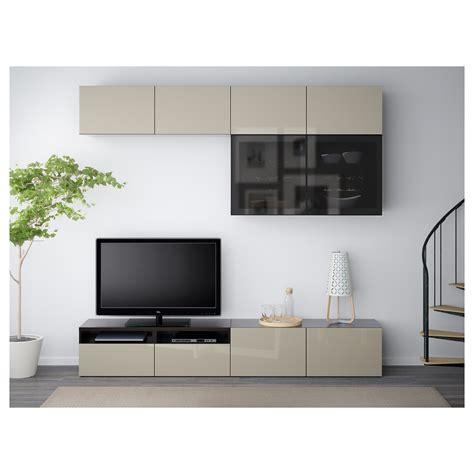 besta tv combination best 197 tv storage combination glass doors black brown selsviken high gloss beige