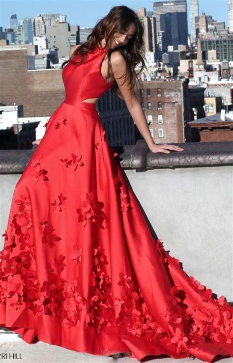 sherri hill  halter neckline  flower long dress