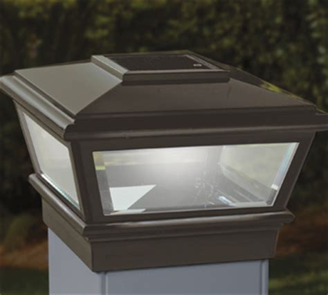 solar post lights 6x6 bronze solar deck light w adapters for 5x5 and 6x6 posts