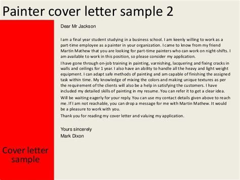Industrial Painter Cover Letter by Cover Letter For A Painter