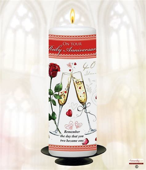 Naturally Irish   Champers   40th Anniversary 9inch Candle