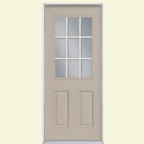 32 Inch Fiberglass Exterior Door Masonite 32 In X 80 In 9 Lite Painted Smooth Fiberglass Prehung Front Door With No Brickmold