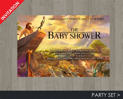 King Baby Shower by King Baby Shower Invitation Jungle Invitation Disney