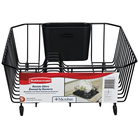 dish drainer for small of rubbermaid small black antimicrobial dish drainer