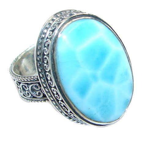 Handmade Sterling Silver Ring - genuine aaa blue larimar sterling silver handmade ring