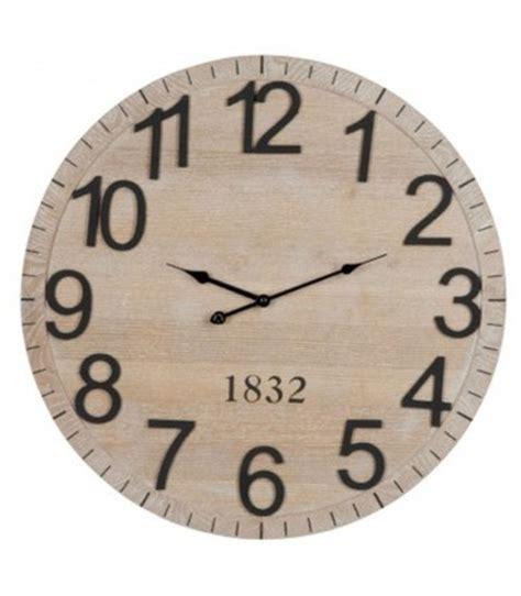 horloge murale antique horloge murale ronde en bois avec chiffres et aiguilles noirs wadiga