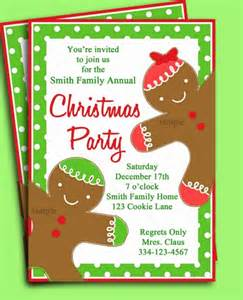 christmas party invitation printable gingerbread kid