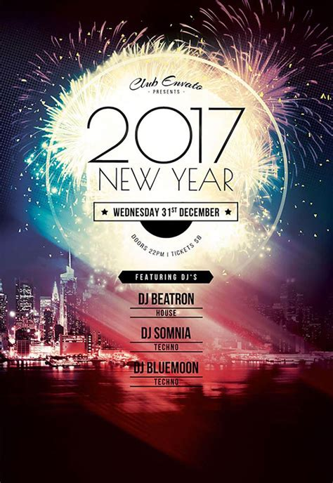 50 Amazing Christmas And New Year S Eve Flyers For The Holiday Season Ad Template 2017